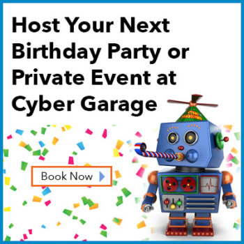 cyber garage technology themed birthday party